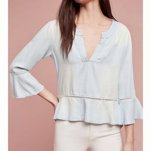 Anthro Cloth & Stone Washed Chambray Aria Top XS